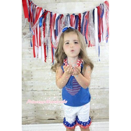 American's Birthday Royal Blue Tank Top With Red White Chevron Satin Lacing & Sparkle Crystal Bling Rhinestone USA Heart Print With White Cotton Short Pantie With Patriotic American Ruffles & White Royal Blue Ribbon Bow P013