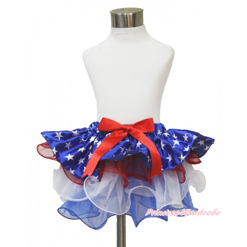 American's Birthday Patriotic American Star Red White Blue Flower Petal Full Pettiskirt With Red Bow B269