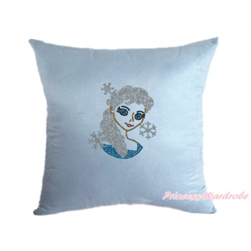 Light Blue Home Sofa Cushion Cover with Sparkle Crystal Bling Rhinestone Princess Elsa Print HG102