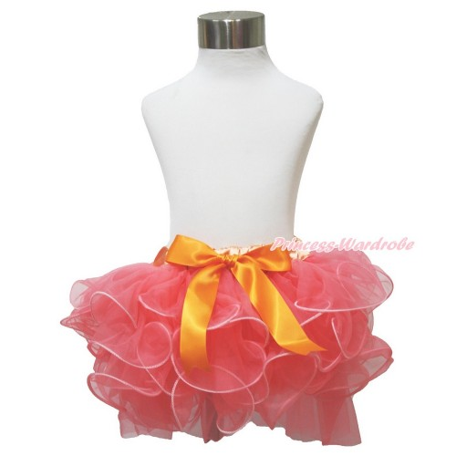 Coral Tangerine Flower Petal Full Pettiskirt & Orange Bow B273