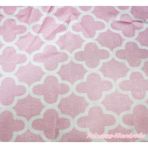 1 Yard Light Pink White Quatrefoil Clover Print Satin Fabrics HG115