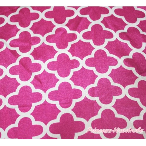 1 Yard Hot Pink White Quatrefoil Clover Print Satin Fabrics HG116