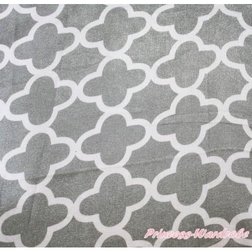 1 Yard Grey White Quatrefoil Clover Print Satin Fabrics HG117