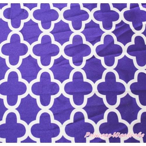 1 Yard Dark Purple White Quatrefoil Clover Print Satin Fabrics HG118