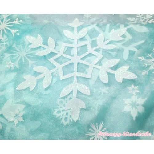 1 Yard Frozen Elsa Big Snowflakes Light Blue Organza Fabrics HG119