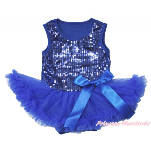 Valentine's Day Royal Blue Sparkle Sequins Baby Bodysuit Pettiskirt & Bow JS3740