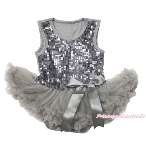 Valentine's Day Grey Sparkle Sequins Baby Bodysuit Pettiskirt & Bow JS3741