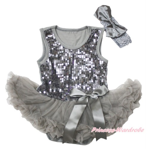 Valentine's Day Grey Sparkle Sequins Baby Bodysuit Pettiskirt & Bow & Grey Headband Satin Bow JS3745