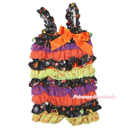 Halloween Pumpkin Purple Orange Petti Romper & Orange  Bow & Straps LR191