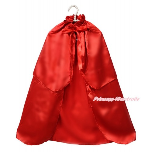 Xmas Hot Red Satin Shawl Coat Costume Cape SH72