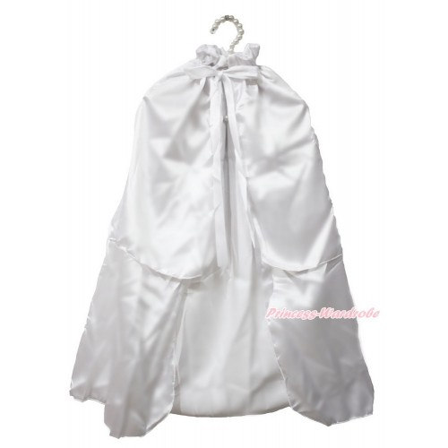White Satin Shawl Coat Costume Cape SH73