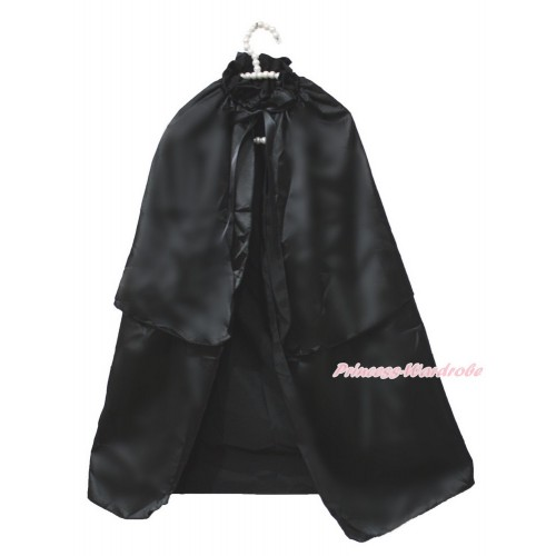 Halloween Black Satin Shawl Coat Costume Cape SH74