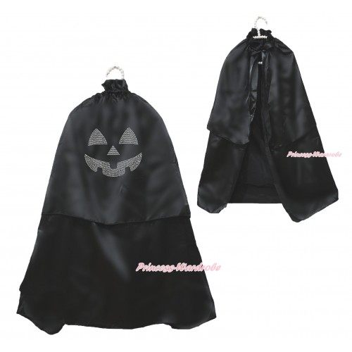 Halloween Sparkle Rhinestone Pumpkin Black Satin Cape Coat Costume SH78