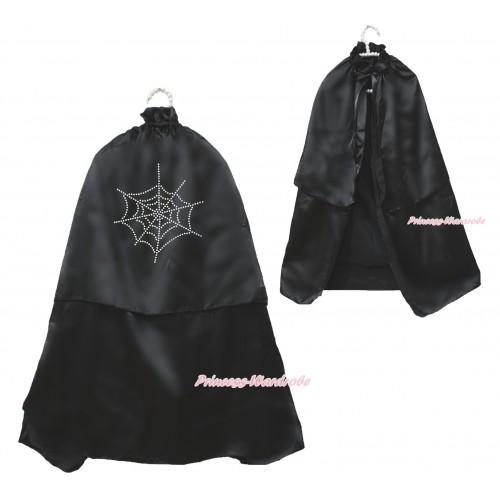Halloween Sparkle Rhinestone Spider Web Black Satin Cape Coat Costume SH79