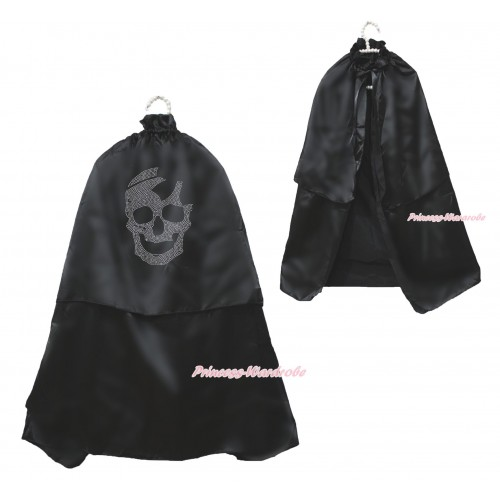 Halloween Sparkle Rhinestone Skeletone Black Satin Cape Coat Costume SH80