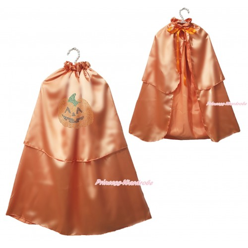Halloween Sparkle Rhinestone Orange Pumpkin Orange Satin Cape Coat Costume SH81
