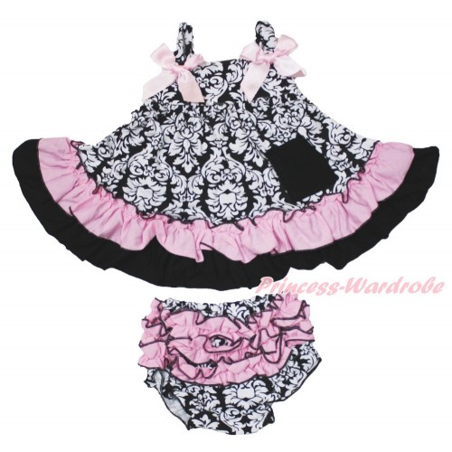 Damask Swing Top & Light Pink Bow & Panties Bloomers SP19