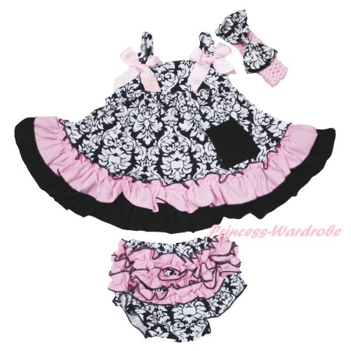 Damask Swing Top & Light Pink Bow & Panties Bloomers & Light Pink Headband Damask Satin Bow SP20