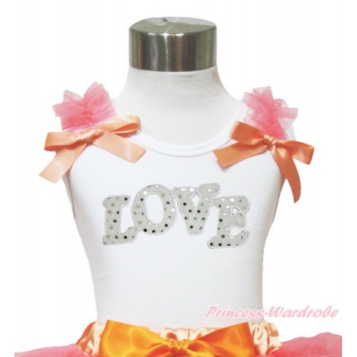 Valentine's Day White Tank Top Coral Tangerine Ruffles & Bow & Sparkle White LOVE TB850