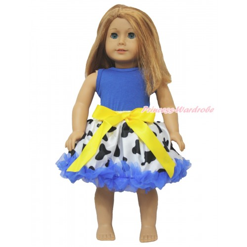 Royal Blue Tank Top & Milk Cow Royal Blue Pettiskirt American Girl Doll Outfit DO001