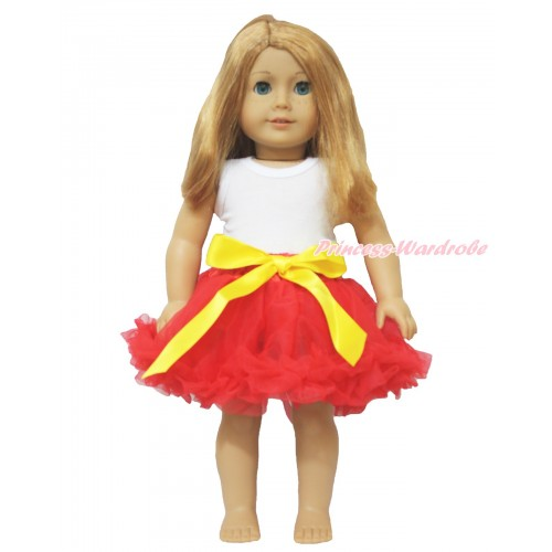 White Tank Top & Yellow Bow Hot Red Pettiskirt American Girl Doll Outfit DO003