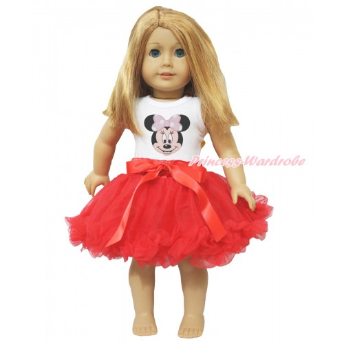 White Tank Top Light Pink Minnie Print & Red Bow Hot Red Pettiskirt American Girl Doll Outfit DO009