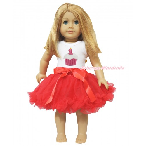 White Tank Top 1st Birthday Cake Print & Red Bow Hot Red Pettiskirt American Girl Doll Outfit DO010