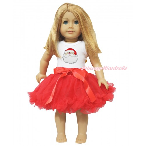 Xmas White Tank Top Santa Claus Print & Red Bow Hot Red Pettiskirt American Girl Doll Outfit DO011