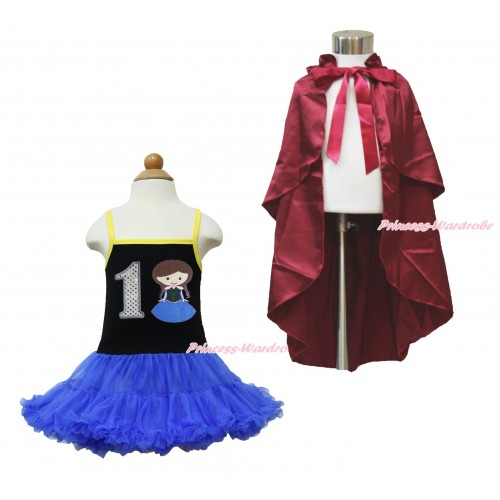 Frozen Anna Black Halter Royal Blue ONE-PIECE Dress & 1st Sparkel White Birthday Number  Princess Anna & Raspberry Wine Red Satin Cape LP101