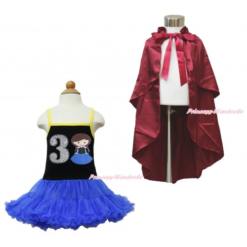 Frozen Anna Black Halter Royal Blue ONE-PIECE Dress & 3rd Sparkel White Birthday Number  Princess Anna & Raspberry Wine Red Satin Cape LP103