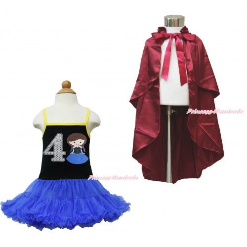 Frozen Anna Black Halter Royal Blue ONE-PIECE Dress & 4th Sparkel White Birthday Number  Princess Anna & Raspberry Wine Red Satin Cape LP104
