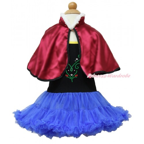 Frozen Anna Black Halter Royal Blue ONE-PIECE Dress & Sparkle Crystal Bling Rhinestone Princess Anna & Raspberry Wine Red Soft Fur Satin Cape LP107