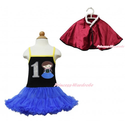 Frozen Anna Black Halter Royal Blue ONE-PIECE Dress & 1st Sparkle White Birthday Number Princess Anna & Raspberry Wine Red Soft Fur Satin Cape LP109