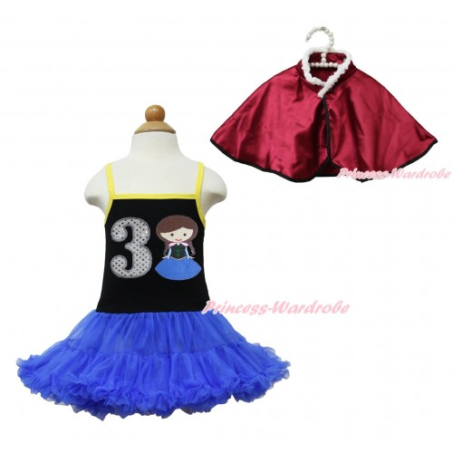 Frozen Anna Black Halter Royal Blue ONE-PIECE Dress & 3rd Sparkle White Birthday Number Princess Anna & Raspberry Wine Red Soft Fur Satin Cape LP111