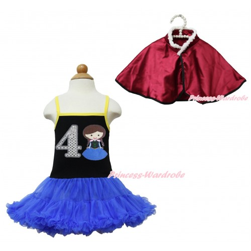 Frozen Anna Black Halter Royal Blue ONE-PIECE Dress & 4th Sparkle White Birthday Number Princess Anna & Raspberry Wine Red Soft Fur Satin Cape LP112