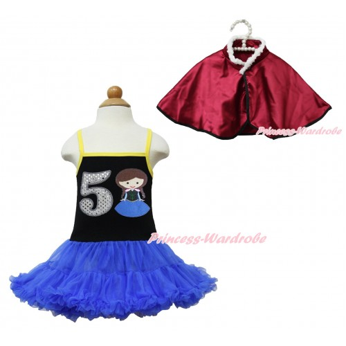 Frozen Anna Black Halter Royal Blue ONE-PIECE Dress & 5th Sparkle White Birthday Number Princess Anna & Raspberry Wine Red Soft Fur Satin Cape LP113