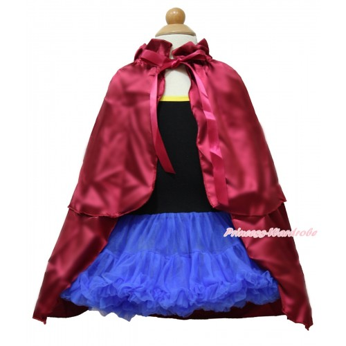 Frozen Anna Black Halter Royal Blue ONE-PIECE Dress & Raspberry Wine Red Satin Cape LP97
