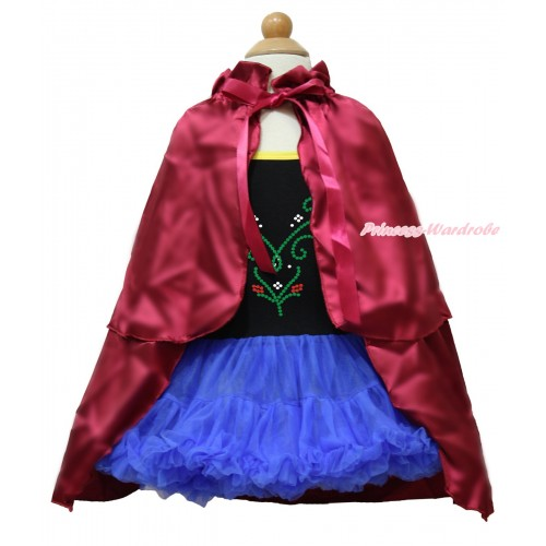 Frozen Anna Black Halter Royal Blue ONE-PIECE Dress & Spakle Bling Crystal Rinestone Princess Anna & Raspberry Wine Red Satin Cape LP99