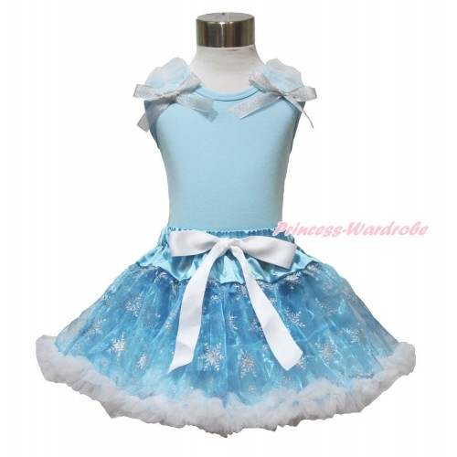 Frozen Elsa Light Blue Tank Tops White Ruffles Sparkle Silver Grey Bow & Sparkle Snowflakes Light Blue Organza Pettiskirt MH227