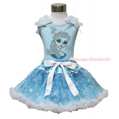 Frozen Elsa Light Blue Tank Top White Ruffles Sparkle Silver Grey Bow Sparkle Bling Rhinestone Princess Elsa & Sparkle Snowflakes Light Blue Organza Pettiskirt MH228