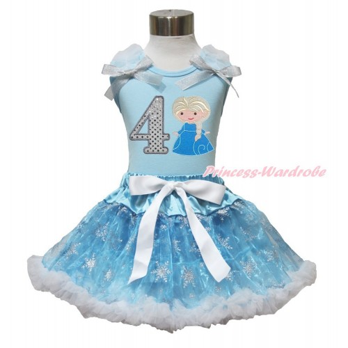 Frozen Elsa Light Blue Tank Top White Ruffles Sparkle Silver Grey Bow 4th Sparkle White Birthday Number Princess Elsa & Sparkle Snowflakes Light Blue Organza Pettiskirt MH233
