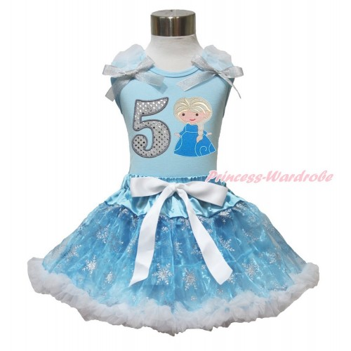 Frozen Elsa Light Blue Tank Top White Ruffles Sparkle Silver Grey Bow 5th Sparkle White Birthday Number Princess Elsa & Sparkle Snowflakes Light Blue Organza Pettiskirt MH234