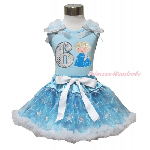 Frozen Elsa Light Blue Tank Top White Ruffles Sparkle Silver Grey Bow 6th Sparkle White Birthday Number Princess Elsa & Sparkle Snowflakes Light Blue Organza Pettiskirt MH235