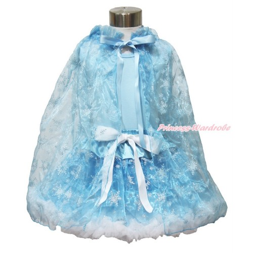 Frozen Elsa Light Blue Tank Tops White Ruffles Sparkle Silver Grey Bow & Sparkle Snowflakes Light Blue Organza Pettiskirt & Sparkle Snowflakes Light Blue Organza Cape MH236