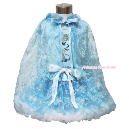 Frozen Elsa Light Blue Tank Tops White Ruffles Sparkle Silver Grey Bow Sparkle Bling Rhinestone Princess Elsa & Sparkle Snowflakes Light Blue Organza Pettiskirt & Snowflakes Light Blue Organza Cape MH238