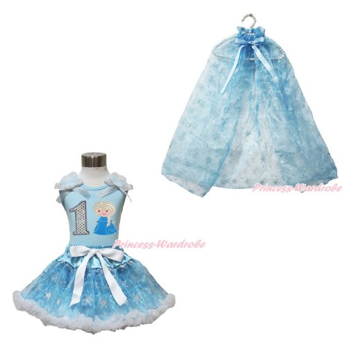 Frozen Elsa Light Blue Tank Tops White Ruffles Sparkle Silver Grey Bow 1st Sparkle White Birthday Number Princess Elsa & Sparkle Snowflakes Light Blue Organza Pettiskirt & Snowflakes Light Blue Organza Cape MH240