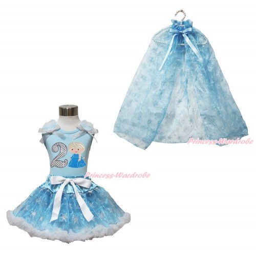 Frozen Elsa Light Blue Tank Tops White Ruffles Sparkle Silver Grey Bow 2nd Sparkle White Birthday Number Princess Elsa & Sparkle Snowflakes Light Blue Organza Pettiskirt & Snowflakes Light Blue Organza Cape MH241