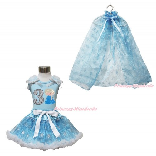 Frozen Elsa Light Blue Tank Tops White Ruffles Sparkle Silver Grey Bow 3rd Sparkle White Birthday Number Princess Elsa & Sparkle Snowflakes Light Blue Organza Pettiskirt & Snowflakes Light Blue Organza Cape MH242