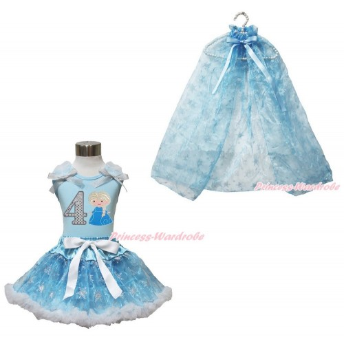 Frozen Elsa Light Blue Tank Tops White Ruffles Sparkle Silver Grey Bow 4th Sparkle White Birthday Number Princess Elsa & Sparkle Snowflakes Light Blue Organza Pettiskirt & Snowflakes Light Blue Organza Cape MH243