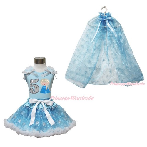 Frozen Elsa Light Blue Tank Tops White Ruffles Sparkle Silver Grey Bow 5th Sparkle White Birthday Number Princess Elsa & Sparkle Snowflakes Light Blue Organza Pettiskirt & Snowflakes Light Blue Organza Cape MH244